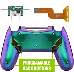 eXtremeRate Dawn Programable Remap Kit for PS4 Controller with Mod Chip & Redesigned Back Shell & 4 Back Buttons - Compatible with JDM-040/050/055 - Chameleon Green Purple