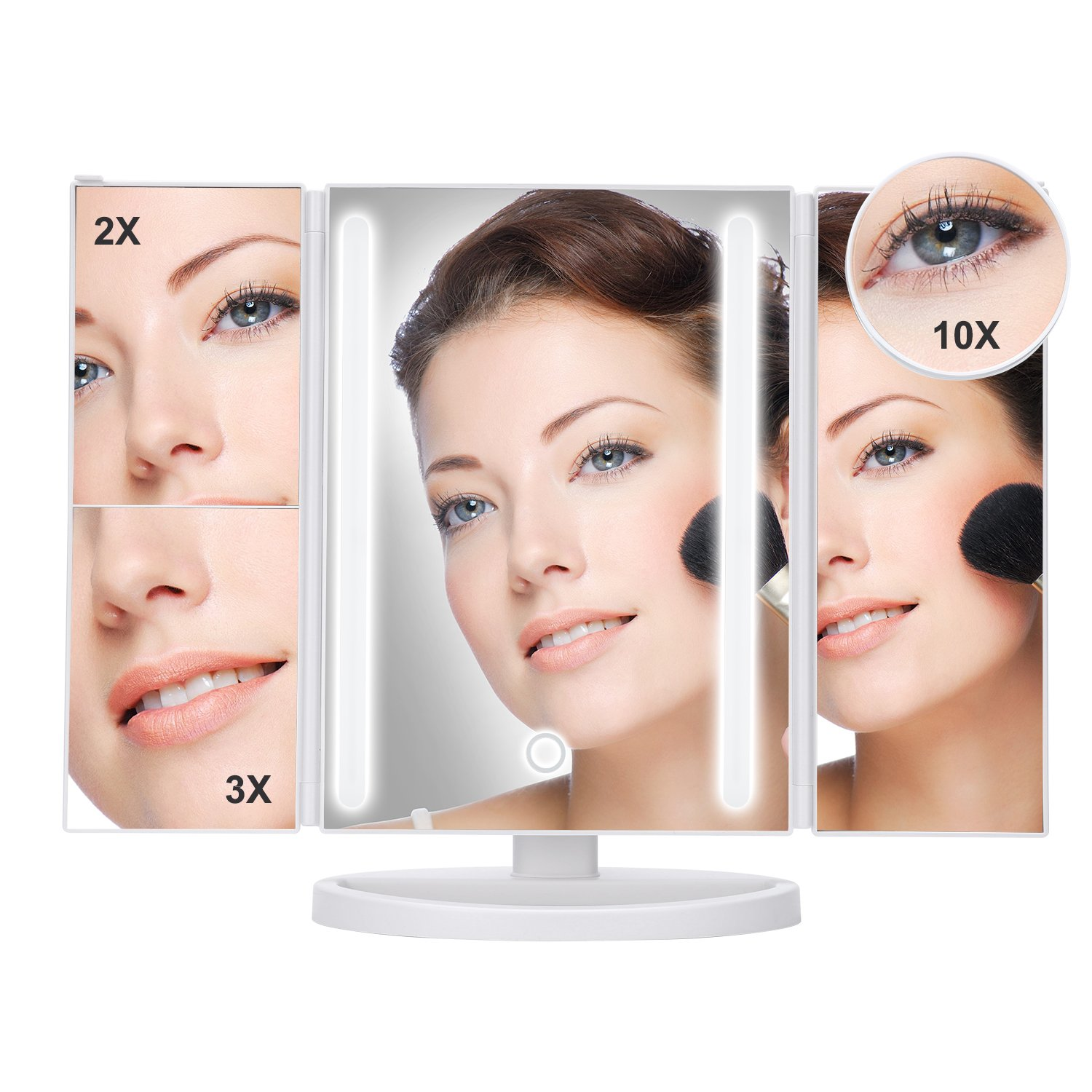 Lighted Makeup Mirror yiiyaa magnifying mirror 24 LED Trifold Illuminated Vanity Mirror Touch Screen 180 Degree Rotation Dimmable Table Countertop Cosmetic Batteries and USB Charging (24LED-White)