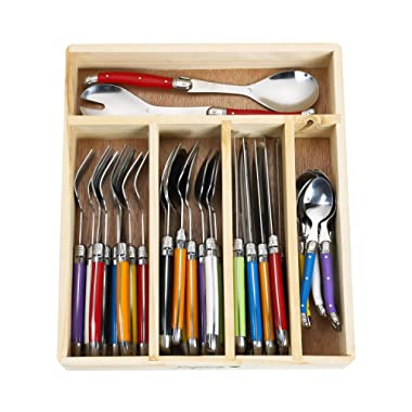 Flying Colors Laguiole Stainless Steel Flatware Set. Multicolor Handles, Wooden Storage Box, 34 Pieces