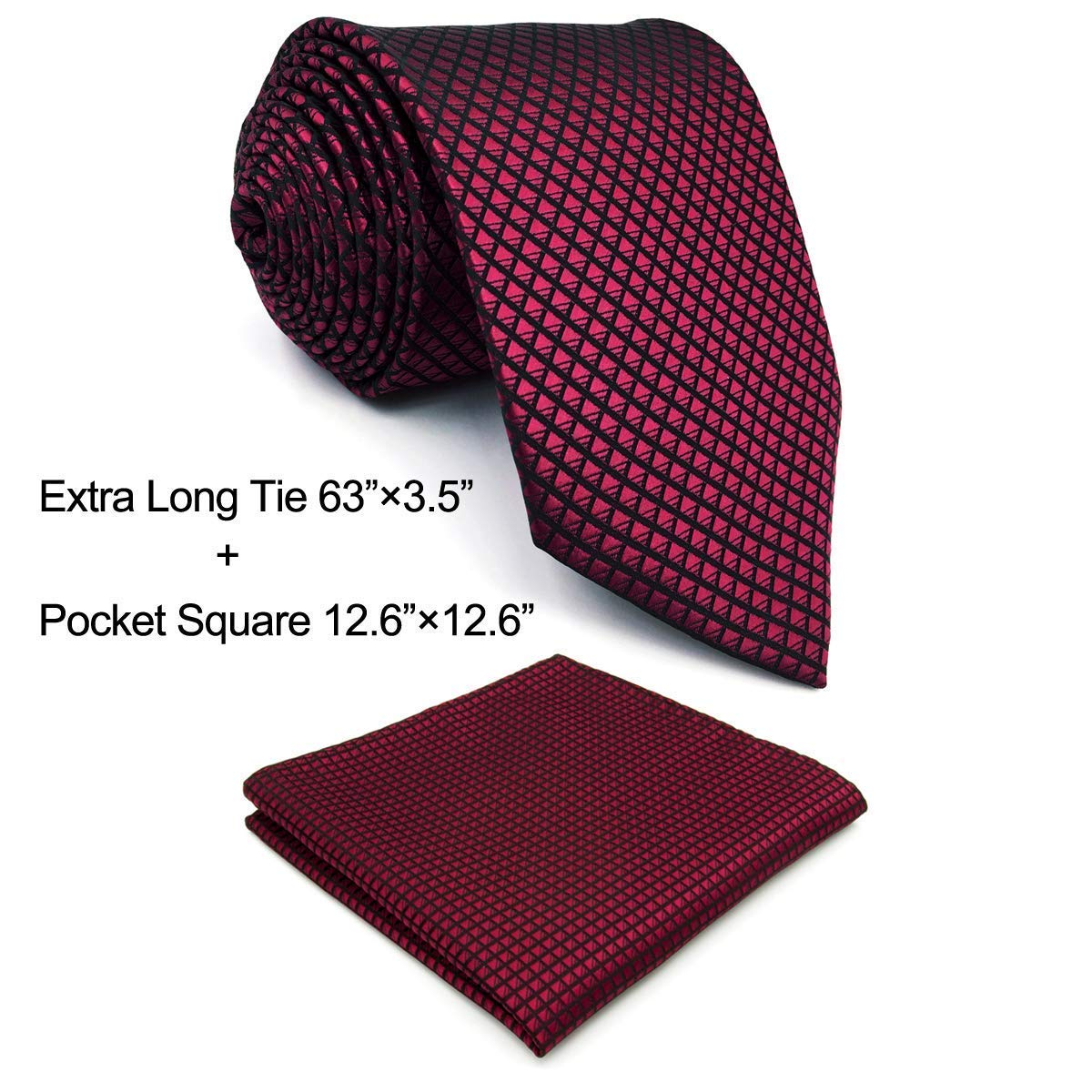 Shlax& Wing Extra Long Size Wedding Necktie Solid Color Red Crimson Mens Tie S. P25-H