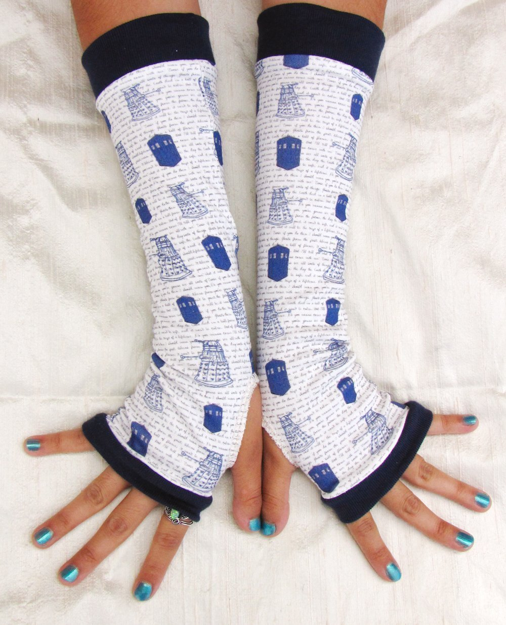 Whovian Cosplay Arm Warmers Fingerless Gloves