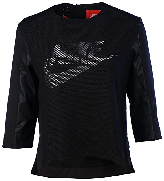 44af5c0aa47f Amazon.com  Nike Women s Sport Casual Perforated Crew Top-Black White-Medium   Sports   Outdoors