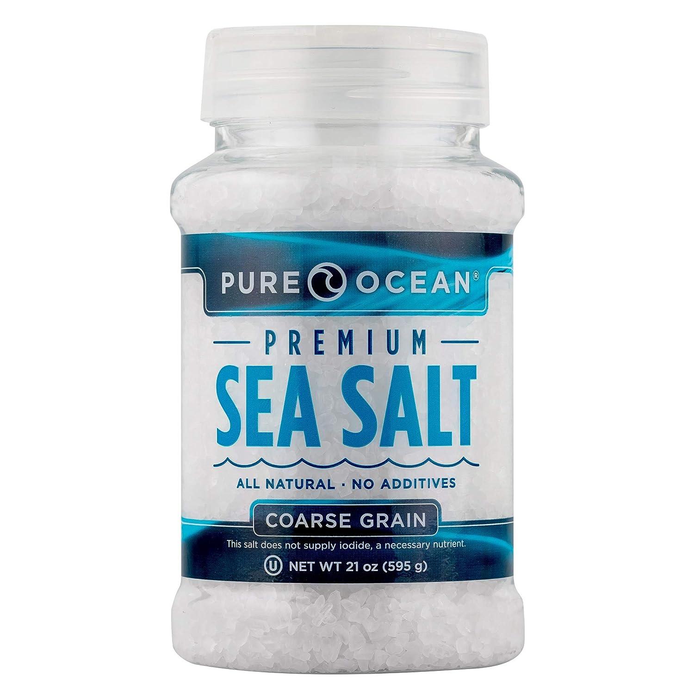 SaltWorks Pure Ocean Sea Salt, Coarse, Food Service Jar, 21 Ounce
