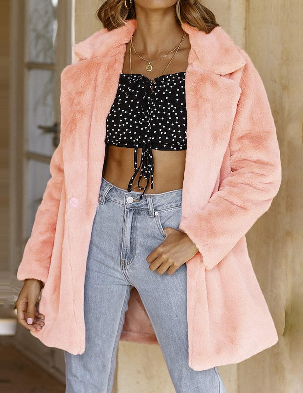 HAOYIHUI Womens Reversing Collar Imitation Fur Coat