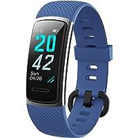 KUNGIX Fitnesstracker, stappenteller, horloge, IP68 waterdicht, smartwatch met hartslagmeter, voor dames, heren…