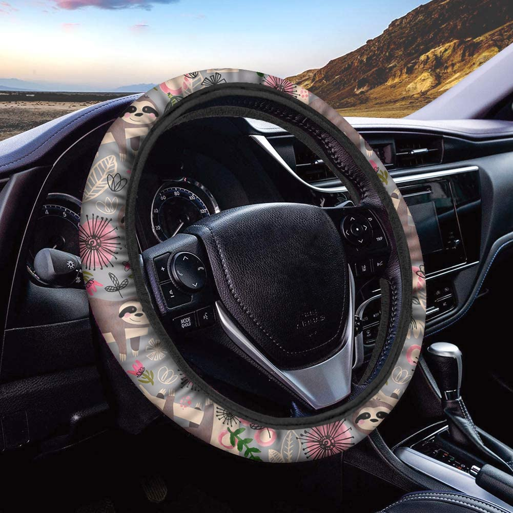 FUSURIRE Neoprene Car Steering Wheel Cover for 15 inch Steering Wheel Covers,Cute Cartoon Llama and Cactus Pattern,Universal Fit Car Accessories for Women