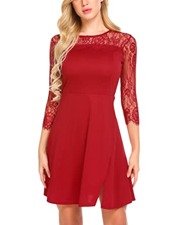 30ea5534c74e Funpor Women's Vintage Floral Lace 2/3 Sleeve Cocktail Party Swing Dress,Dark  Red