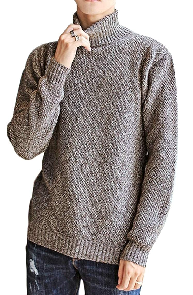 Yayu Mens Solid Knitting Warm Thicken Knitwear Winter High Neck Pullover Sweaters