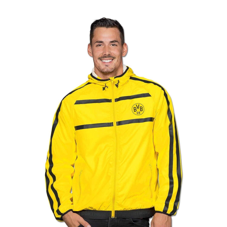 Borussia Dortmund Windbreaker für Herren, Schwarzgelb, Polyester, S-XL, BVB-Emblem,