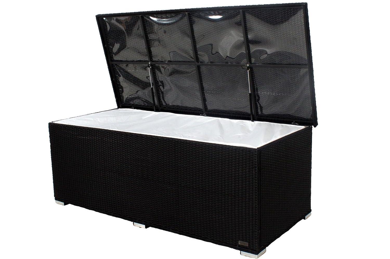 OUTFLEXX Kissenbox aus Polyrattan 204x94x75cm in schwarz