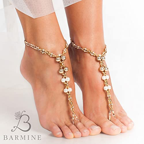e917ebc154a0 Amazon.com  Champagne Gold Bridal barefoot sandals Beach wedding foot  jewelry Pearl Bridal accessory Beaded Barefoot Sandles Bridal Dance Shoes  Soleless  ...