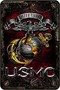 zufeng Marine Corps Wall Décor Signs, USMC Metal Sign (Double Flag Gold Globe) USMC Parking Sign & Marine Corps Man Cave Décor– 8x12 Metal Wall Art Décor,Metal Bar Sign
