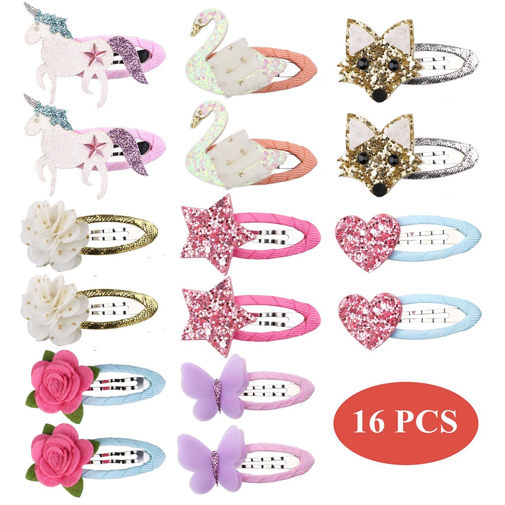 inSowni 16pcs Glitter Snap Hair Clips Barrettes Unicorn Butterfly Flower for Baby Girl Toddlers Kids (16PCS S2)