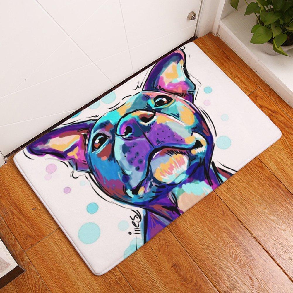 YJBear Thin Purple Puppy Dog Pattern Floor Mat Coral Fleece Home Decor Carpet Indoor Rectangle Doormat Kitchen Floor Runner 20'' X 31.5''