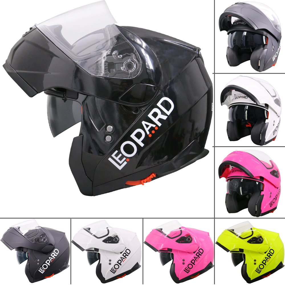 Leopard LEO-838 DOUBLE VISOR Flip up front Motorcycle Motorbike Helmet Road Legal - White L (59-60cm) Touch Global Ltd