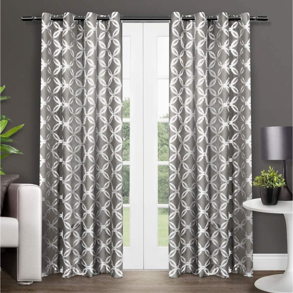 Exclusive Home Curtains Modo Metallic Geometric Window Curtain Panel Pair with Grommet Top, 54x84, Black Pearl, 2 Count