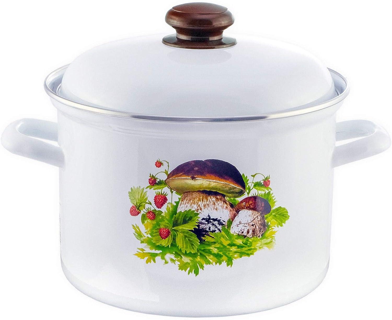 4Big.fun 4,5 L casserole /à sauce /émaill/ée Couvercle Pilze Emaille Marmite 20 cm