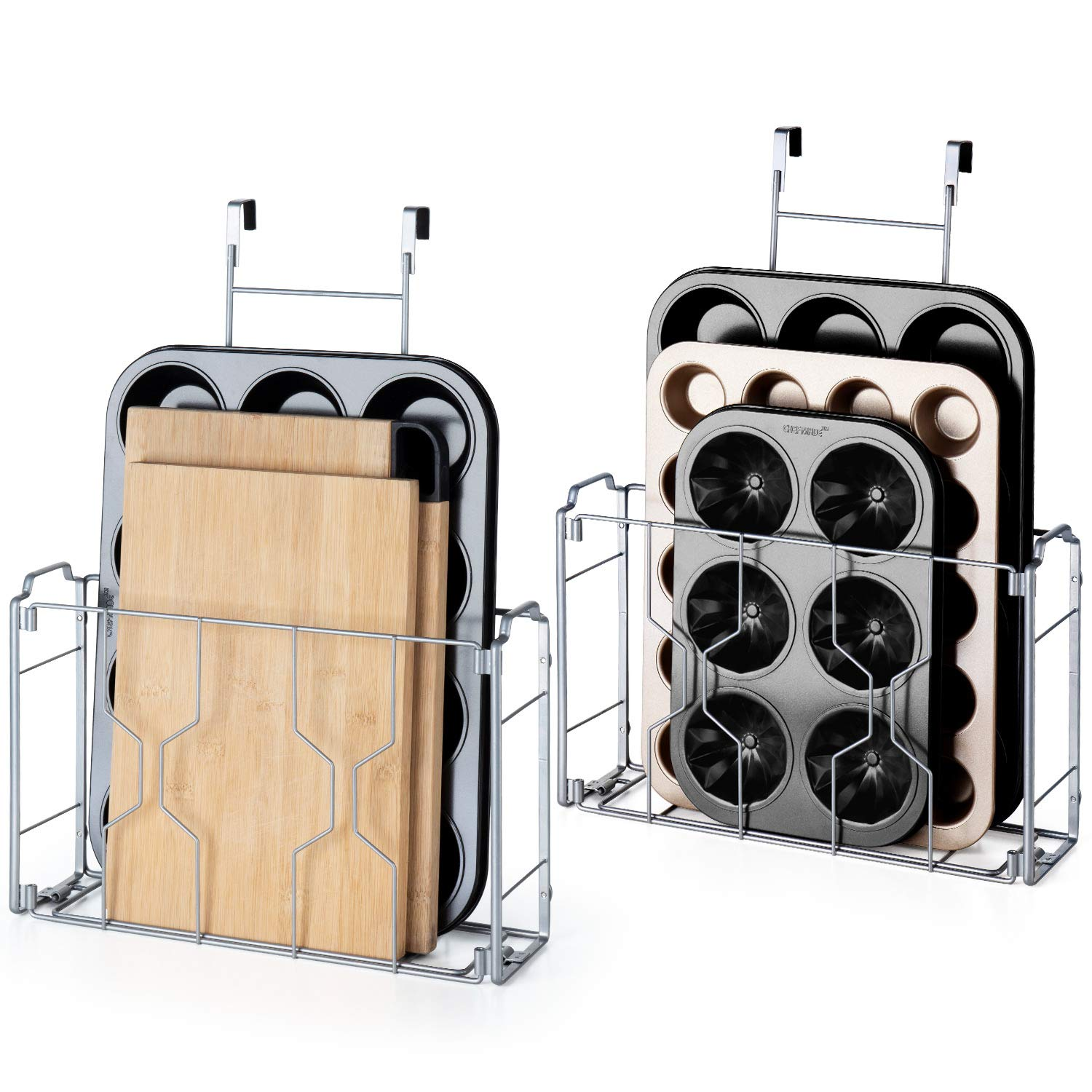 Bextsware 2 Pack Over the Door/Wall Mount Cabinet Organizer Storage Basket in Kitchen or Pantry for Cutting Board, Aluminum Foil, Plastic Wrap, Mesh Silver by Bextsware