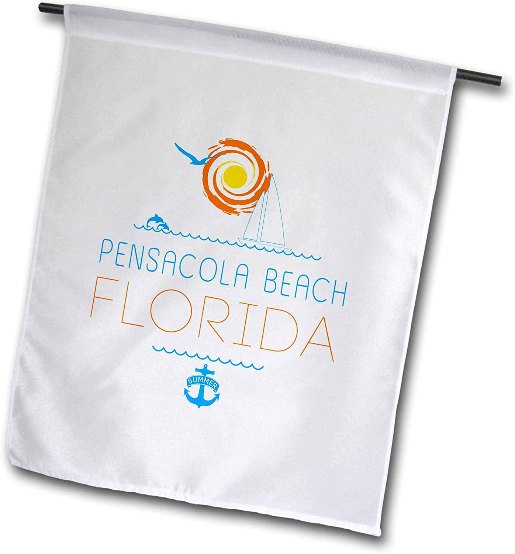 3dRose Alexis Design - American Beaches - Pensacola Beach, Florida Decorative Text, Images. Summer Vacations - 12 x 18 inch Garden Flag (fl_311545_1)