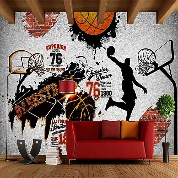 Papel Pintado pared 3D Baloncesto retro nostálgico Para sala de ...