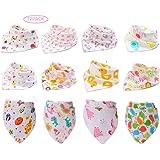 Fontee Baby Paquete de 12 bebé Bandana Baberos del pañuelo para Niñas Suave, cómodo,