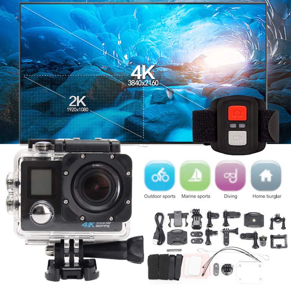 HD Weitwinkelobjektiv ) wasserdichte 4K Dual Screen WiFi HD 1080P Sport Action Kamera DVR Cam Camcorder kashyk Digitalkamera,1600 Megapixel,2.0 Zoll HD LCD Display,Unterwasser 30M,170 /° A