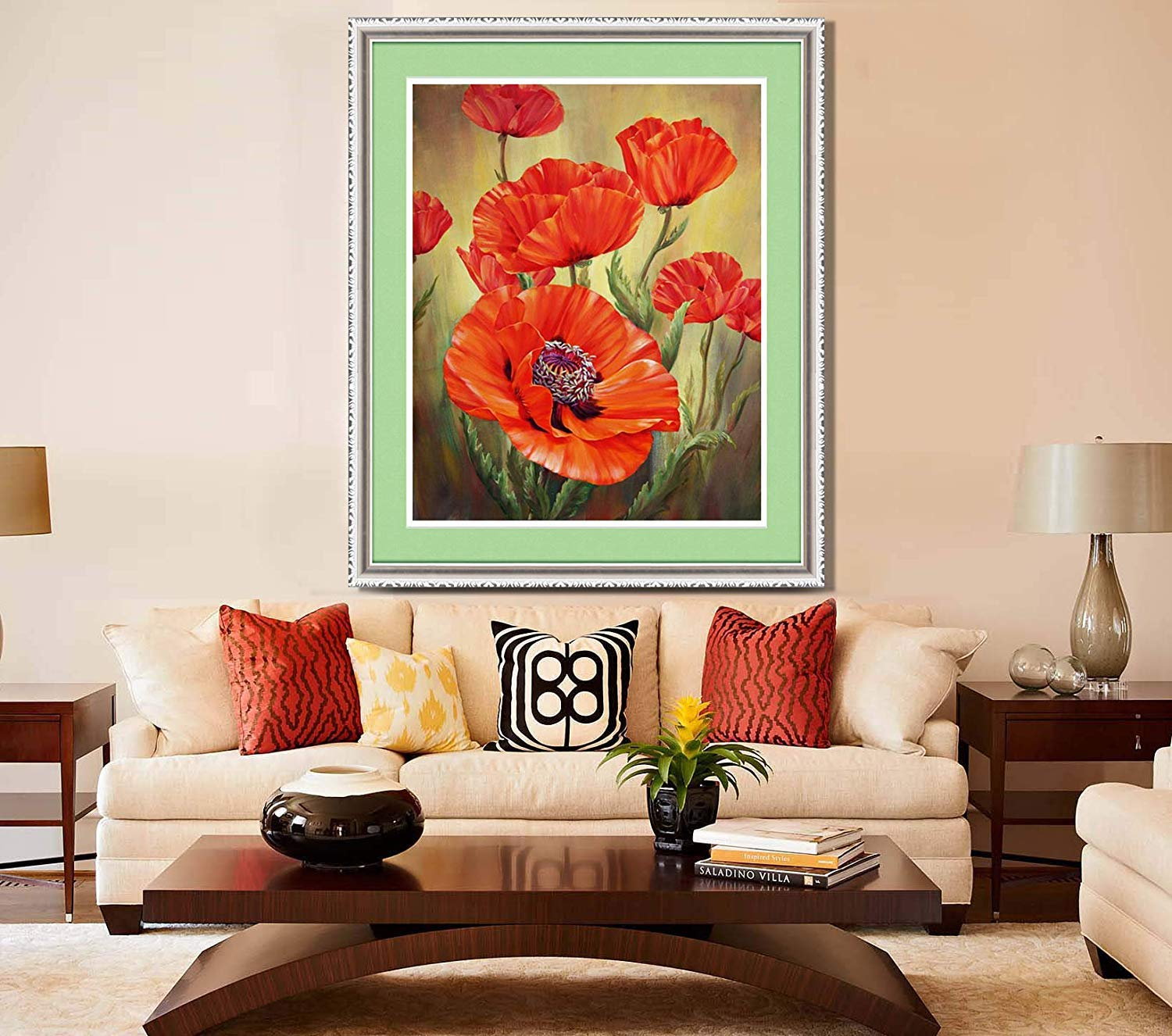 12x14 TINMI ARTS 5D Diamond Painting Poppy Flower Full Round Kits for Adults Mosaic Cross Stitch Kits Crystal Embroidery Kits Home Wall D/écor