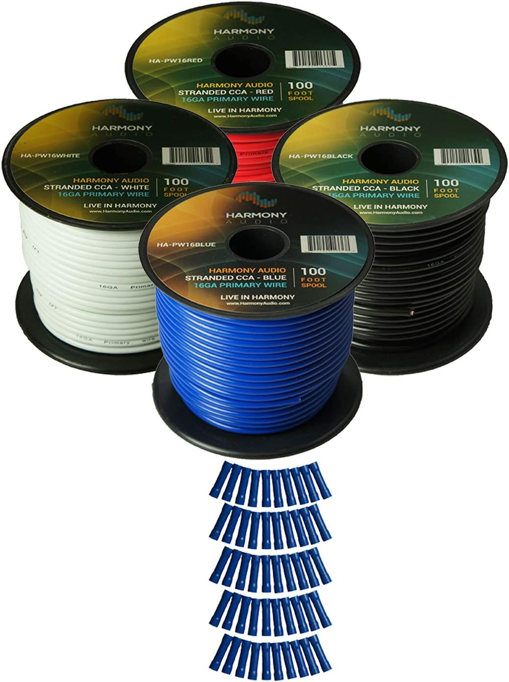 Harmony Car Primary 16 Gauge Power or Ground Wire 100 Feet Spool Black Cable New