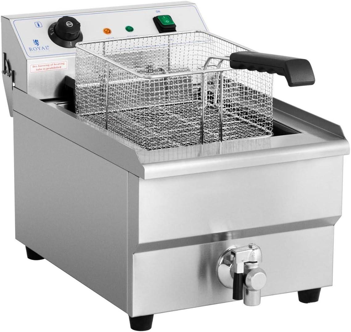Royal Catering Freidora Eléctrica Para Hostelería RCEF-16EHB (Volumen De 16 Litros, 6.000 Watt, Grifo De Vaciado, Zona Fría, 60-200 °C): Amazon.es: Hogar