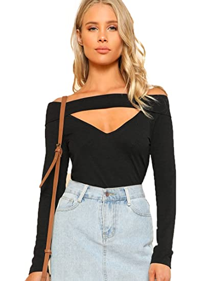Romwe Women s Off Shoulder Sexy Cut Out V Neck Solid T-Shirt Tops Black  X-Samll at Amazon Women s Clothing store  add289c85