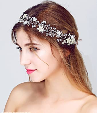 Headband Rhinestone Crystal Pearl Flower Wedding Bridal Headband Hair  Headband (Silver with Fresh natural pearl 1b0a5e6e127