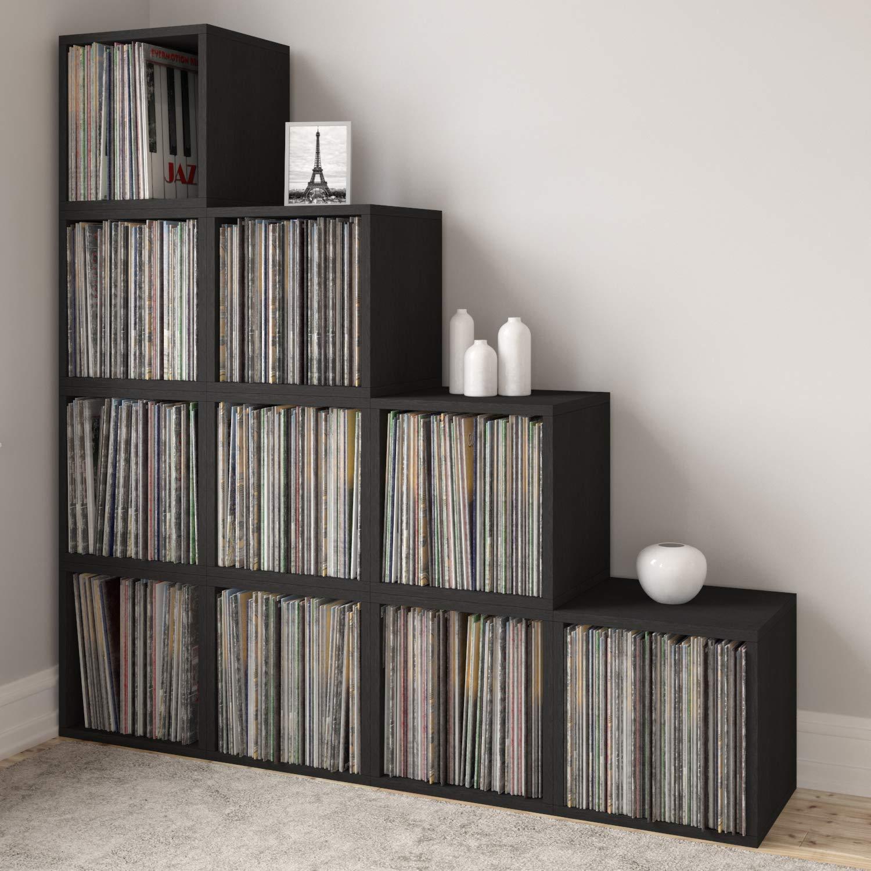 Way Basics Extra Large Stackable LP Album Shelf Vinyl Record Storage Cube Renewed Black