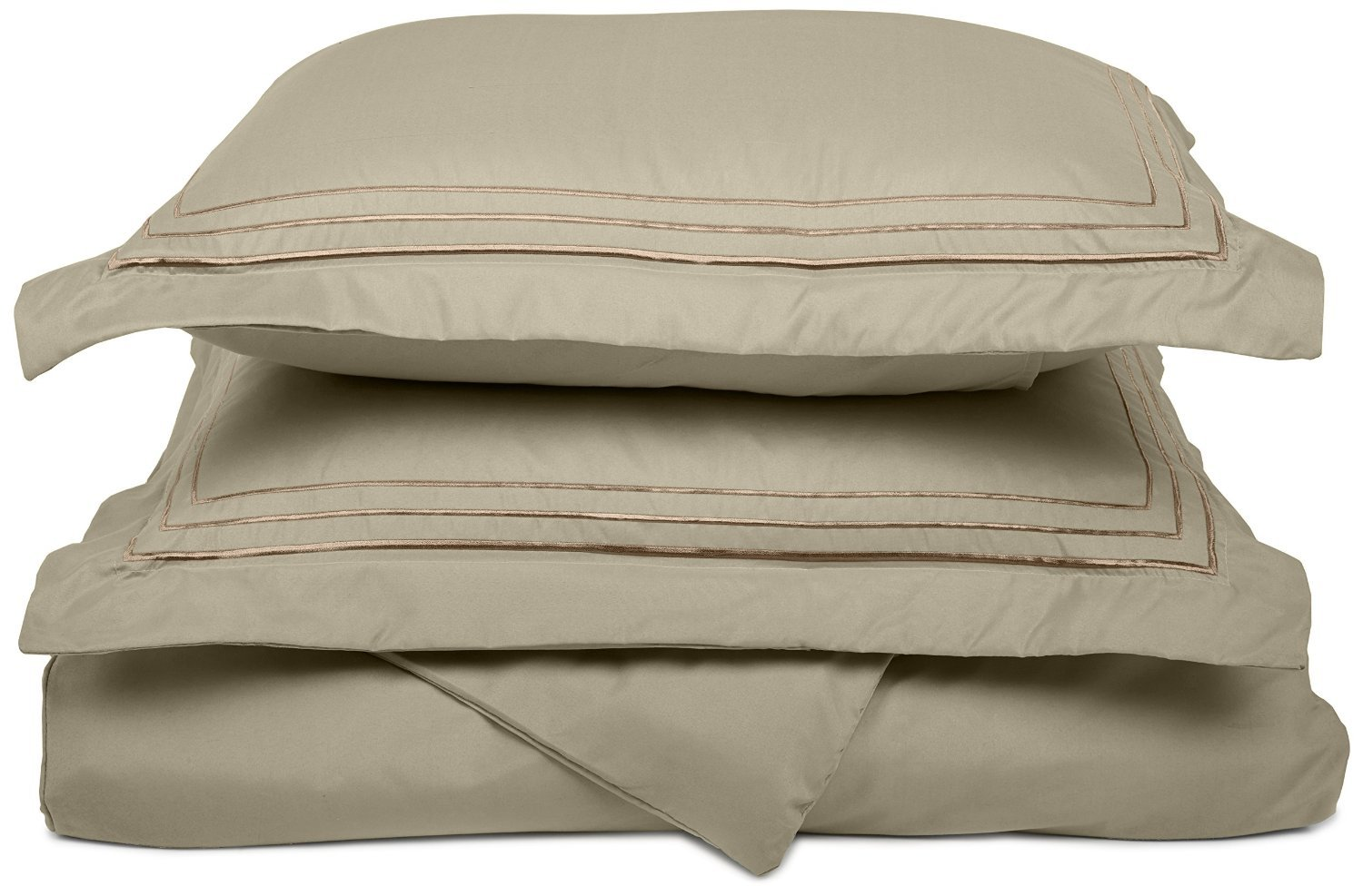 Super Soft Light Weight, 100% Brushed Microfiber, Full/Queen, Wrinkle Resistant, Tan Duvet Cover with 3-Line Embroidered Pillowshams in Gift Box