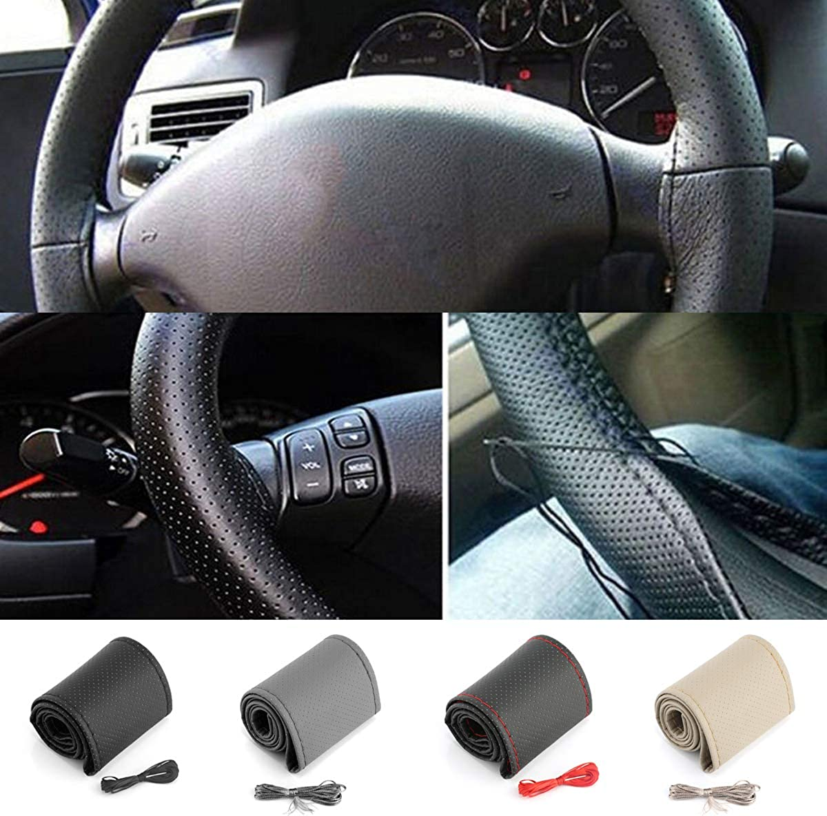 Ruiqas PU Leather Car Steering Wheel Cover DIY Steering Wheel Cover Anti-Slip Stitch On Wrap with Needle /& Thread