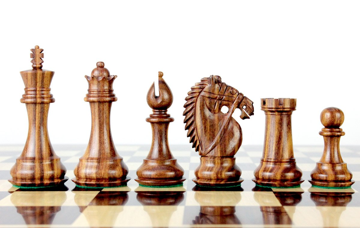 PLEASANT TIMES INDUSTRIES House of Chess - Golden Rosewood/Boxwood Chess Pieces Rio Staunton 4.0'' (102 mm) 2 Extra Queens - Triple Weighted