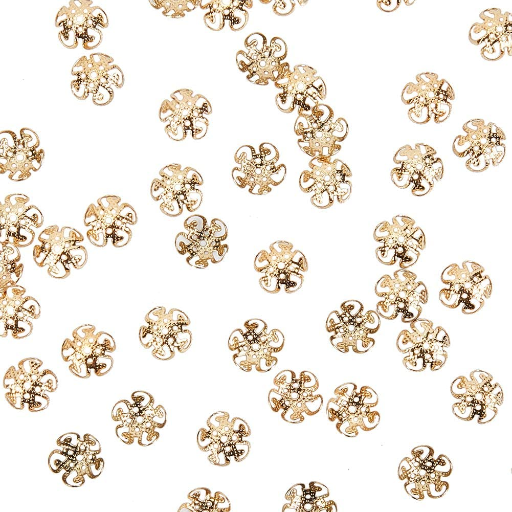 PH PandaHall About 100 Pcs 304 Stainless Steel Flower Petal Bead Caps Metal Spacer Beads for Bracelet Necklace Jewelry Making Gold