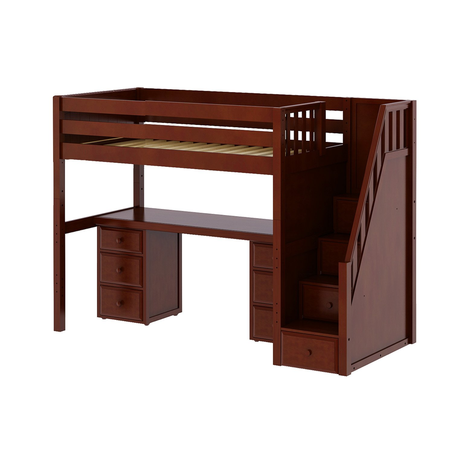 Maxtrix Solid Hardwood Twin-Size Low Loft Bed with Storage Staircase Entry, Integrated Desk, and 2x 3 1/2 Drawer Dresser, Chestnut
