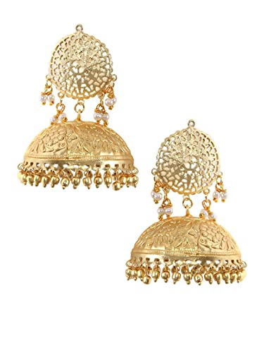 b1013bae6 Buy Rubans Gold Plated Traditional Indian Bollywood Ethnic Wedding Bridal  Pearls Light Weight Jhumka Earrings For Women Online at Low Prices in India  ...