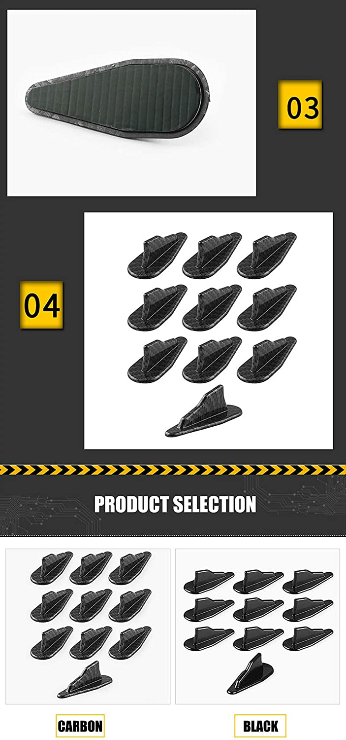 DingSheng 10Pcs Car Tuning Decoration Accessories,EVO Style Black or Carbon Fiber Shark Fin Tail Spoiler Wing Kit Vortex Generator Compatible with Automotive Universal Black /& Carbon Black