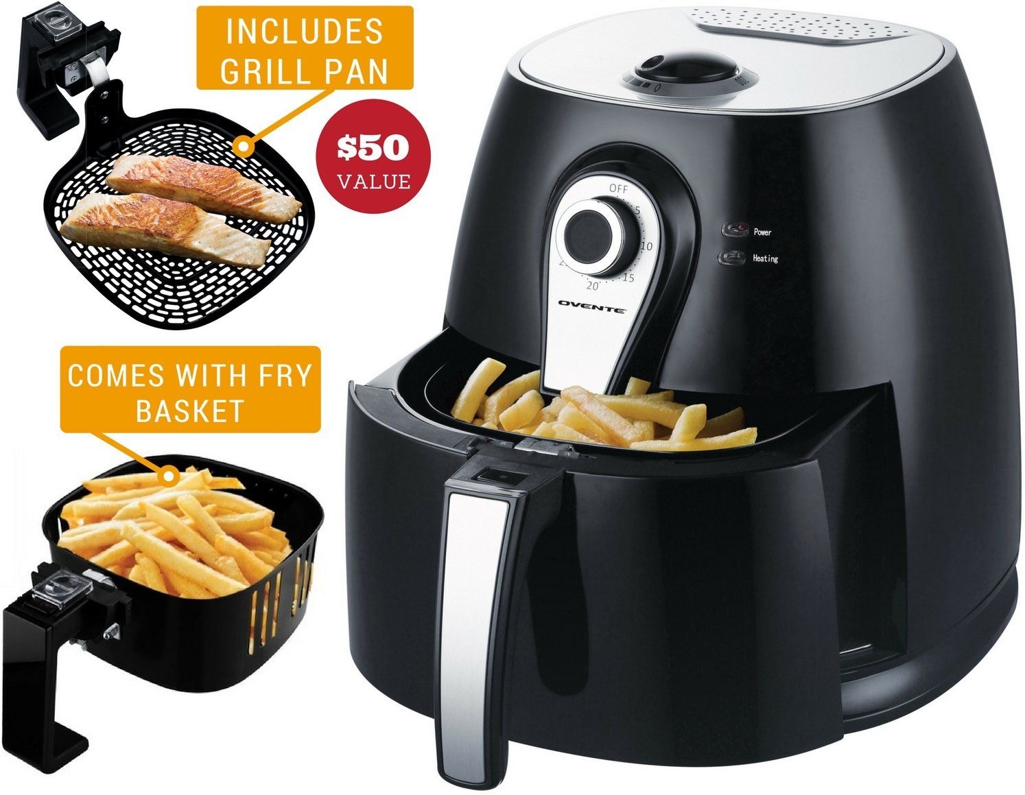 Ovente FAM21302B Electric Air Fryer with Timer, 3.2 Qt, 1400 Watts, Adjustable Temperature Controls, Includes Fry Basket and Pan, Black, Manual