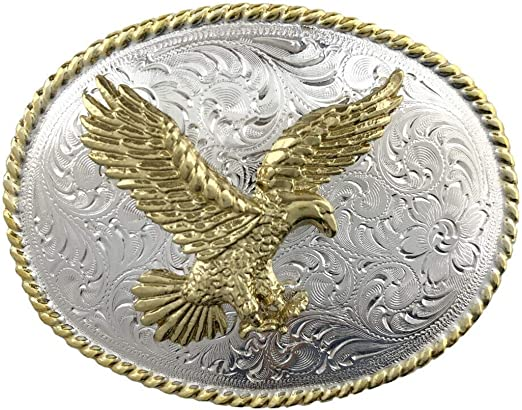 American Bald Eagle Gold and Silver Plated Western Belt Buckle