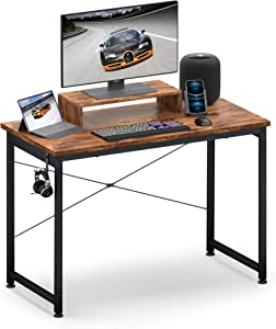 """Small Computer Desk 31"""" with Movable Monitor Shelf Riser, OTK Sturdy Home Office Desk, Writing Desk, Gaming Desk with Headphone Hook, Computer Work Station, Work Table, Vintage"""