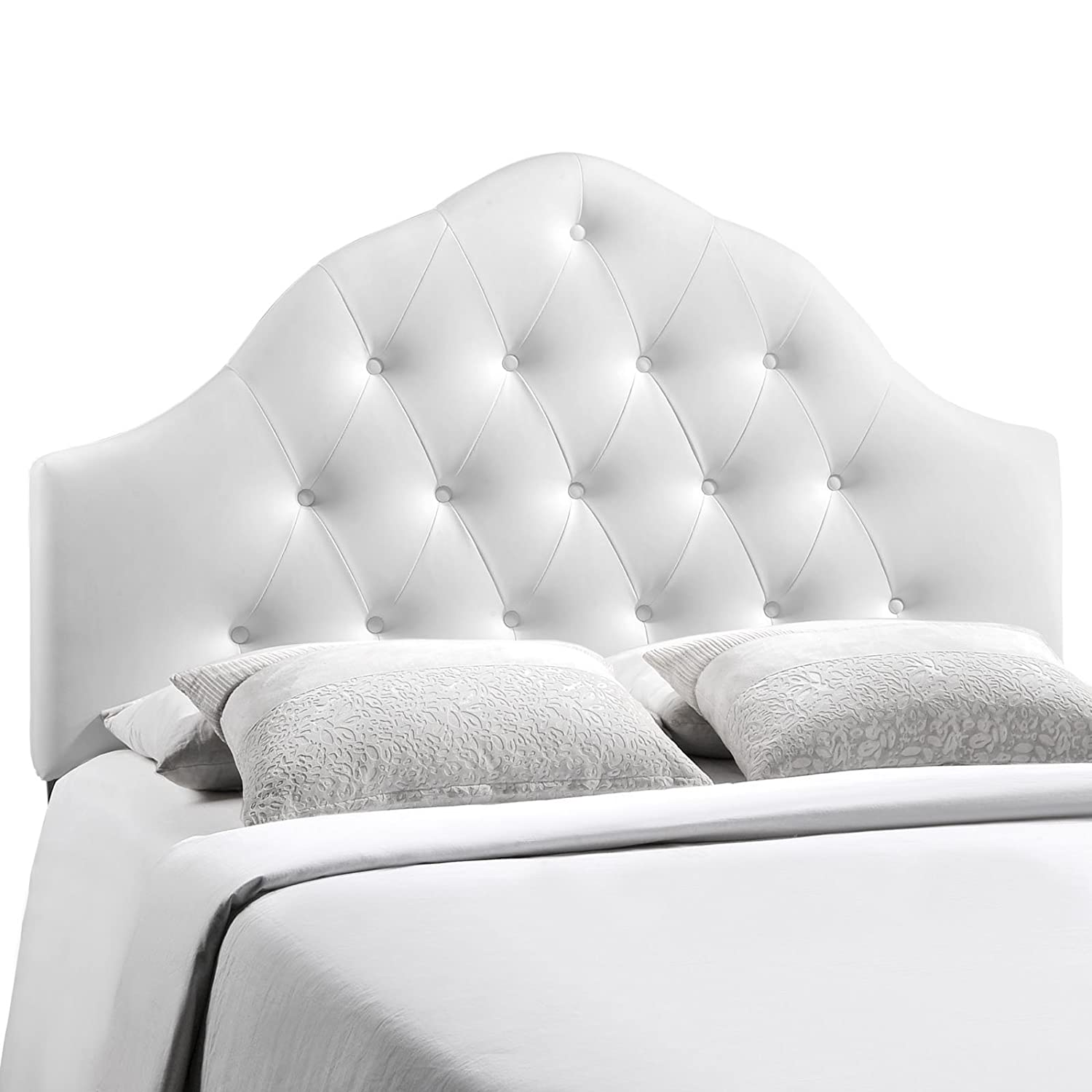 Amazon.com   Modway Sovereign Upholstered Tufted Button Vinyl Headboard  Full Size In White