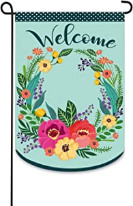 Evergreen Flag Indoor Outdoor Décor for Homes Gardens and Yards Spring Floral Welcome Wreath Garden Applique Flag