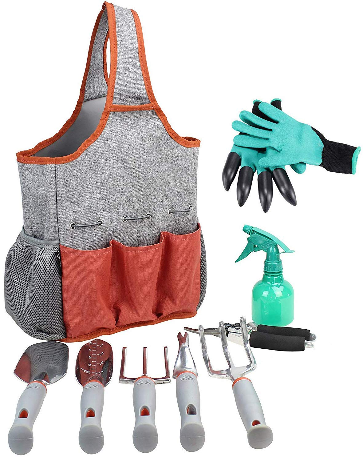 Gardening Tools Set | Garden Tools Kit | Gardening Gloves | 9 Piece Garden Tool Set | Digging Claw Gardening Gloves Gardening Gifts Tool Set | Planting Tools | Gardening Supplies Basket | Rake Gloves by CALIFORNIA PICNIC