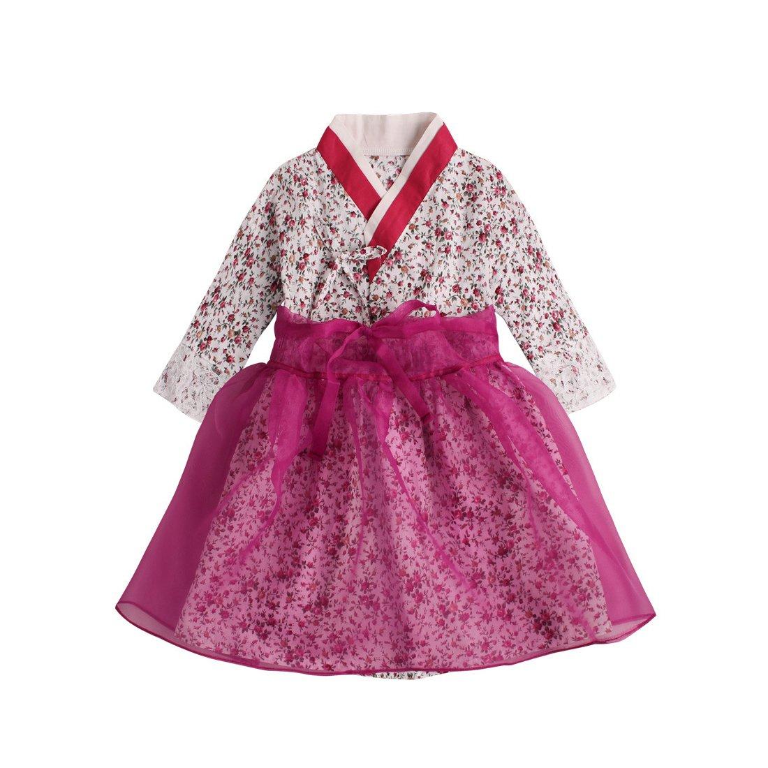 PAUBOLI Baby Girl Korean Clothes Korean Hanbok Long Sleeve Dress