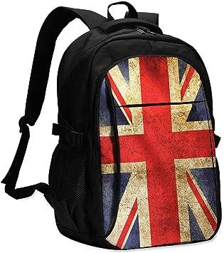 Jutdopt Vintage Union Jack Britain Flag Laptop Backpack 18 In College School Bookbag Daypack Usb Port For Women Men Girls