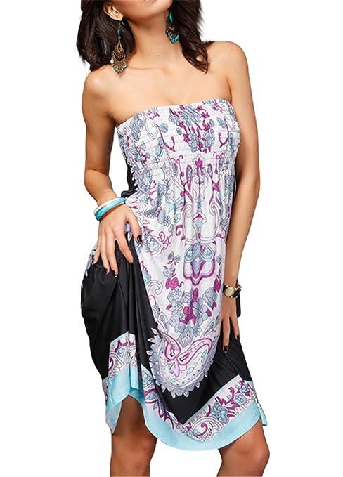Tenxin Vestito Estivo Corto Floreale Boho Hippie Abito Senza Maniche Donna  Etnico Tribale Sexy Casual Elegante Abiti da Spiaggia Mini Vestito   Amazon.it  ... dbb5086e473