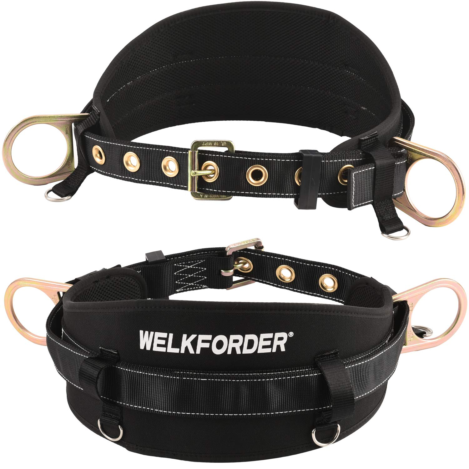 WELKFORDER Tongue Buckle Body Belt with Waist Pad and 2 Side D-Rings Personal Protective Equipment Safety Harness | Waist Fitting Size 32'' to 46'' for Work Positioning, Restraint by WELKFORDER