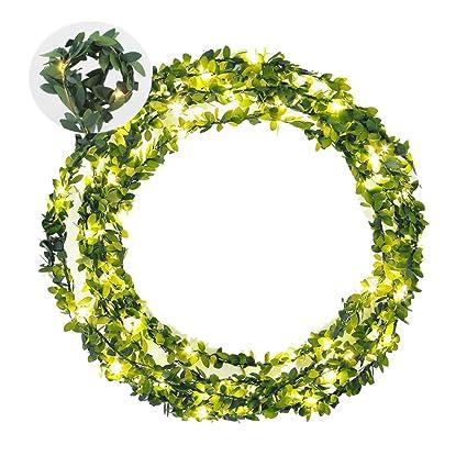 Amazon.com: AMEISA Guirnalda de hojas verdes, funciona con ...